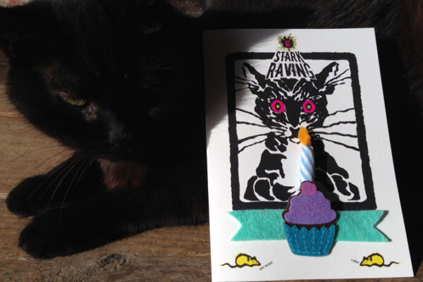 Blue Candle Card with Wolfie the Cat