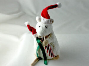 Merry Mouse with Catnip Candy Cane and Santa's Treat Cap
