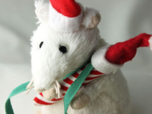 Merry Mouse with Catnip Candy Cane and Santa Treat Cap Closeup
