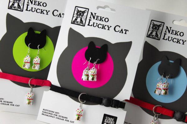 Neko Lucky Cat Collar and Earrings Set