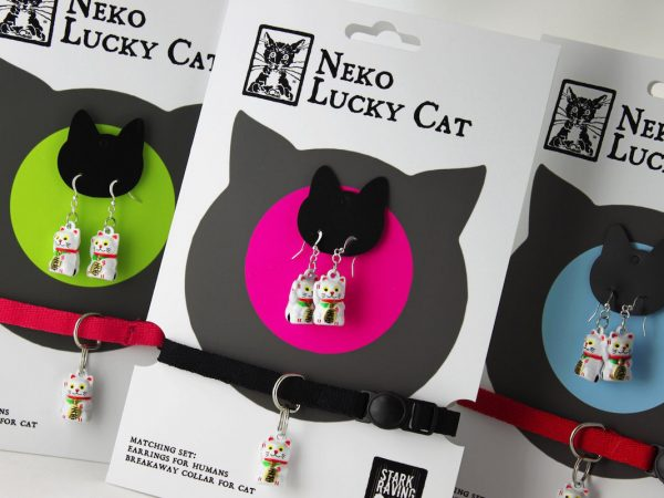 Neko Lucky Cat Collar and Earrings Set
