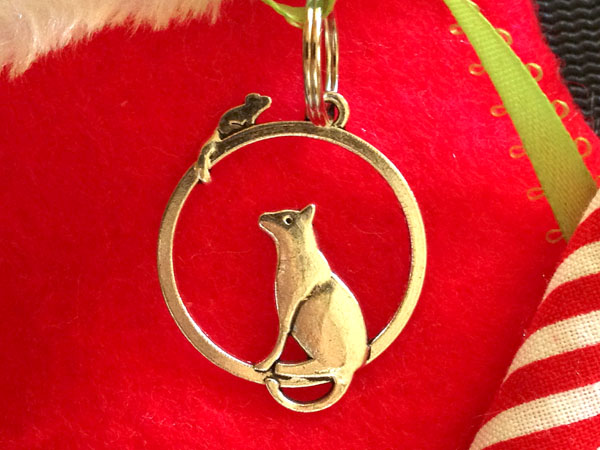 Charm closeup - Santa's Rocking Stocking Catnip Joints