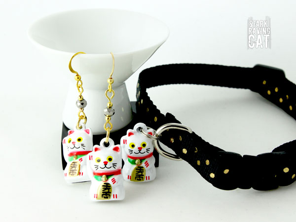 Neko Lucky Cat Collar and Earring Set (Jet Black)