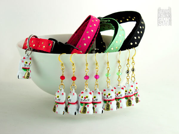 Neko Lucky Cat Collar and Earring Sets