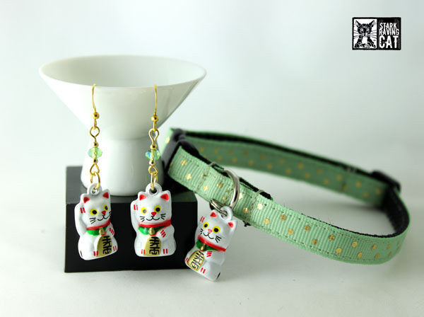 Neko Lucky Cat Collar and Earring Set (Celadon Mint)