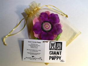 Single Poppy in Gold Organza Bag