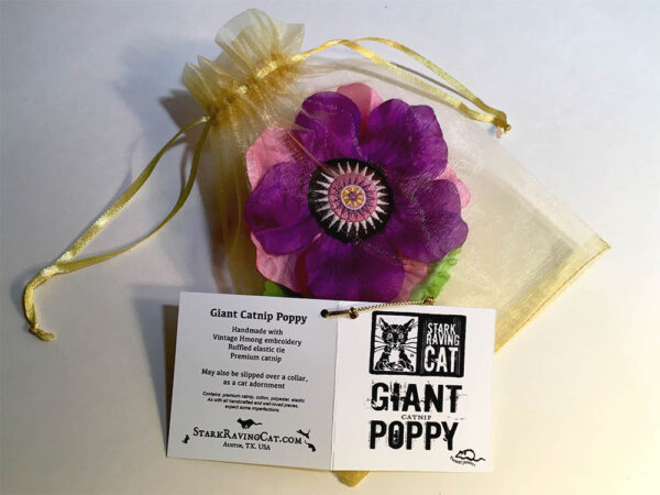 Single Poppy in Gold Organza Bag