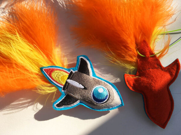 Both Sides of Rocket Ship Catnip Toy