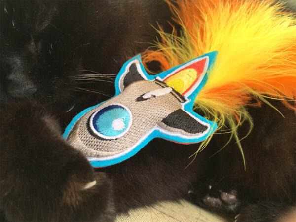 Wolfie with Rocket Ship Catnip Toy