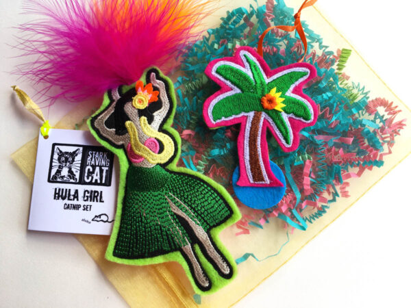 Hula Dancer & Palm Tree Catnip Toy Set