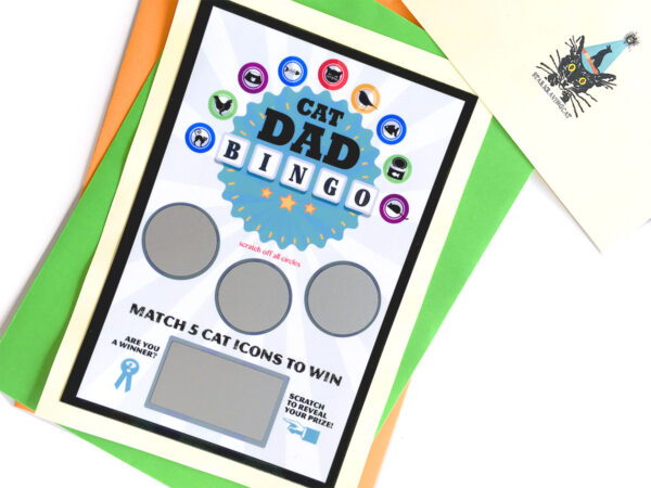 Cat Dad Scratch-Off Bingo Greeting Card