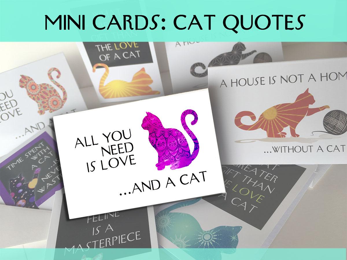 mini cards cat quotes greeting card set