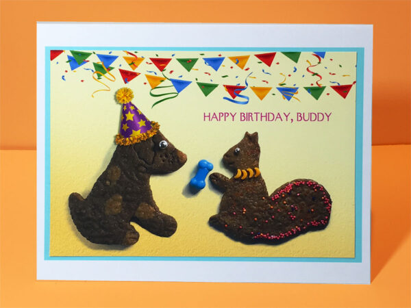 Happy Birthday, Buddy - Dog and Squirrel Greeting Card