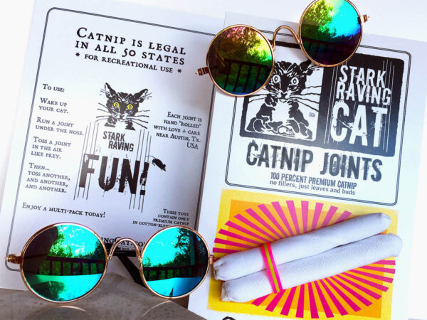 Sunglass and Catnip Joint Gift Set for Cats, featuring Mirrored Pet Sunglasses