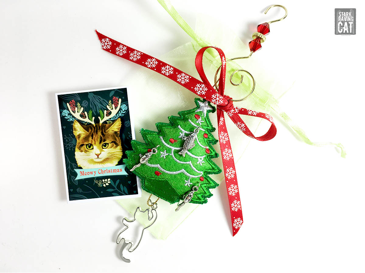 Christmas Tree Cat Ornament with Silver Mice, Fish and Cat Charms