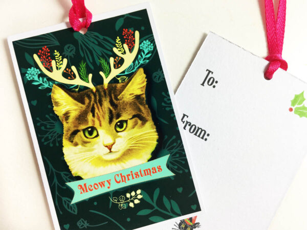 Meowy Holiday Gift Tag
