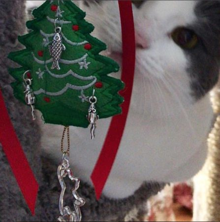 cat with tree ornament
