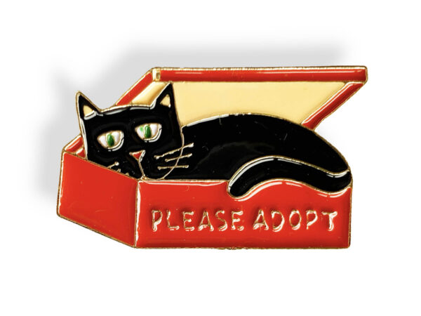 Please Adopt - Enamel Cat Pin, with Black Cat in Box